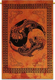 Indian Psychedelic Tapestry Wall Hanging Indian Dragon Yin Yang Hippie Tapestries Boho Wall Decor Handmade Boho Poster (Orange)