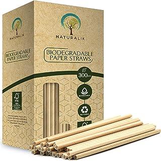 Naturalik 300/1000-Pack Biodegradable Paper Straws Dye-Free- Premium Eco-Friendly Paper Straws Bulk- Drinking Straws for J...
