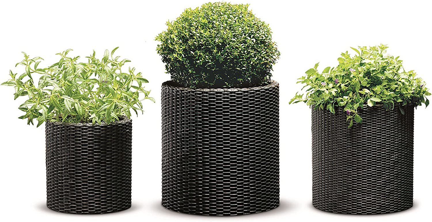Keter Resin Wicker Cylinder Flower Pot Medium a Max 63% OFF Don't miss the campaign 3 of Set Small
