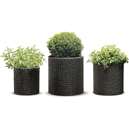 Flower Pot Planter with Feet Rattan Flower Pot Watering 4/Colours 2/Sizes