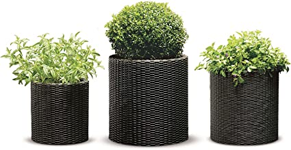 Keter Resin Wicker Cylinder Flower Pot Set Of 3 Small Medium And Large Planters With Drainage Plugs For Outdoor Or Indoor Plants 3 Sizes Espresso Brown Amazon Co Uk Garden Outdoors