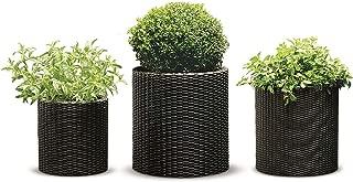 Keter Round Cylinder Plastic Rattan Resin Garden Flower Plant Planters Decor Pots 3 pc Set, assorted sizes, Brown