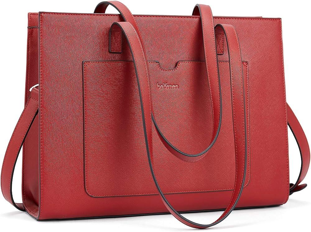 Bromen, elegante borsa/valigetta per donna, in vera pelle, rossa