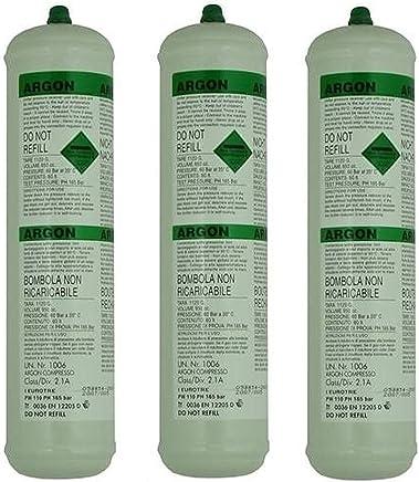Clarik 3 x soldador botella Gas desechable de argón 390 G 60L