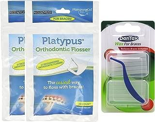 Platypus Ortho Flosser (2 Packs of 30), & Dentek Wax for Braces