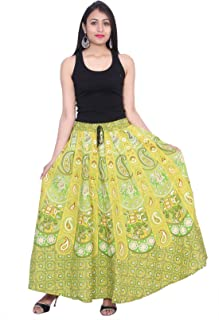 Kastiel Green Cotton Long Printed Sanganeri Jaipuri Skirt For Woman's/Girls
