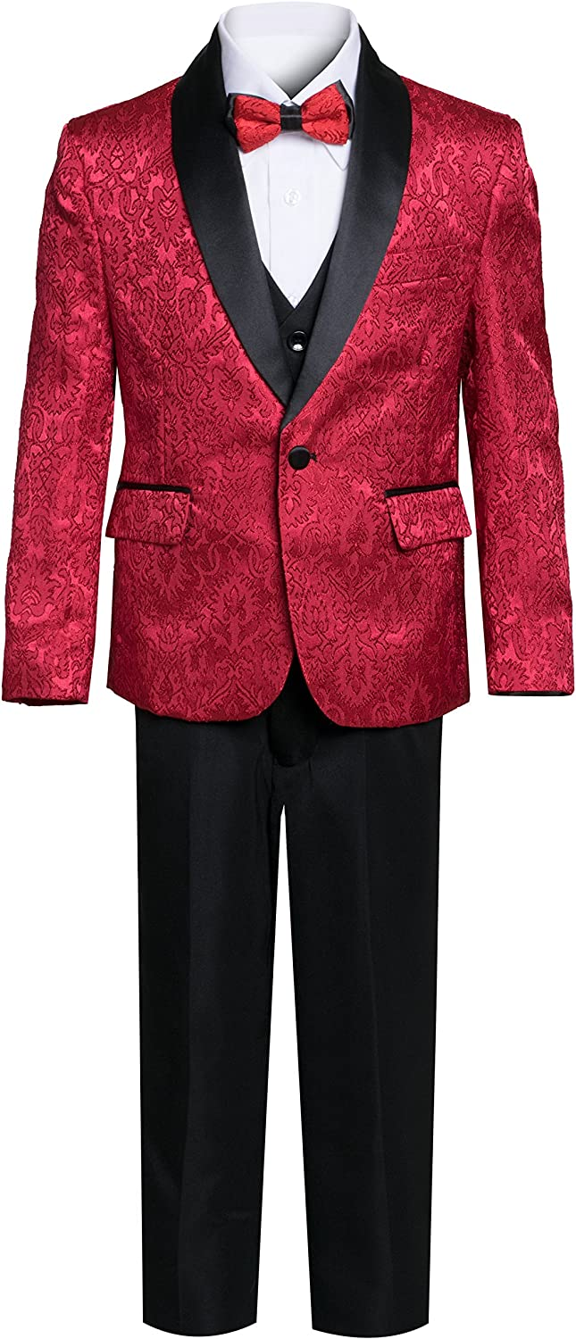 Boys Premium Paisley Patterned and Solid Shawl Lapel Tuxedos - Many Colors
