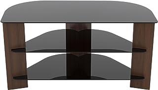 AVF FS900VARWB-A Varano Corner TV Stand, Walnut and Black Glass