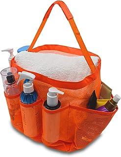 メッシュシャワーキャディ トイレタリーオーガナイザー 8つの収納コンパートメント付き ポータブル&速乾性 シャンプー、コンディショナー、石鹸、その他のバスルームアクセサリーに – 16x10x7 (オレンジ)