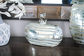"""Deco 79 Glam Glass and Metal Decorative Bottle 5""""W x 9""""H Silver, Gold"""