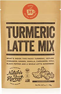 Nature's Harvest Turmeric Latte Mix   Organic Golden Milk Tur Latte Powder for Hot & Iced Coffee, Tea & More  7 Powerful Spices & Healthy Anti-Inflammatory Curcumin Infusion   35 Servings…