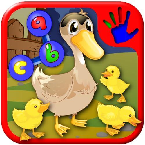 Fazenda ABC pré-escolar e Animal juntar enigmas do Dot - ensina as crianças os letras de números e formas adequadas para bebês e crianças do jardim de infância