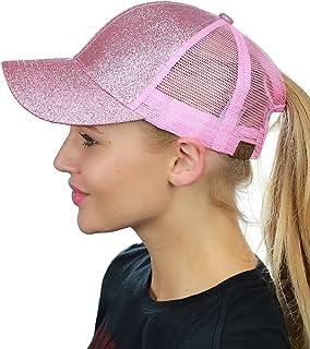 C.C Ponycap Messy High Bun Ponytail Adjustable Glitter Mesh Trucker Baseball Cap