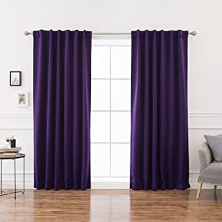 Best Home Fashion Basic Thermal Insulated Blackout Curtains - Back Tab/Rod Pocket - Purple - 52