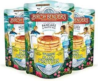 Birch Benders Plant Protein Pancake & Waffle Mix, Vegan, 10g Plant-Based Protein, Whole Grains, Just Add Water, 3 Pack, 14 Oz