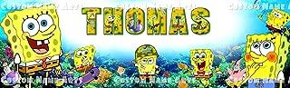 Personalized SpongeBob SquarePants Banner Birthday Poster Custom Name Painting Wall Art