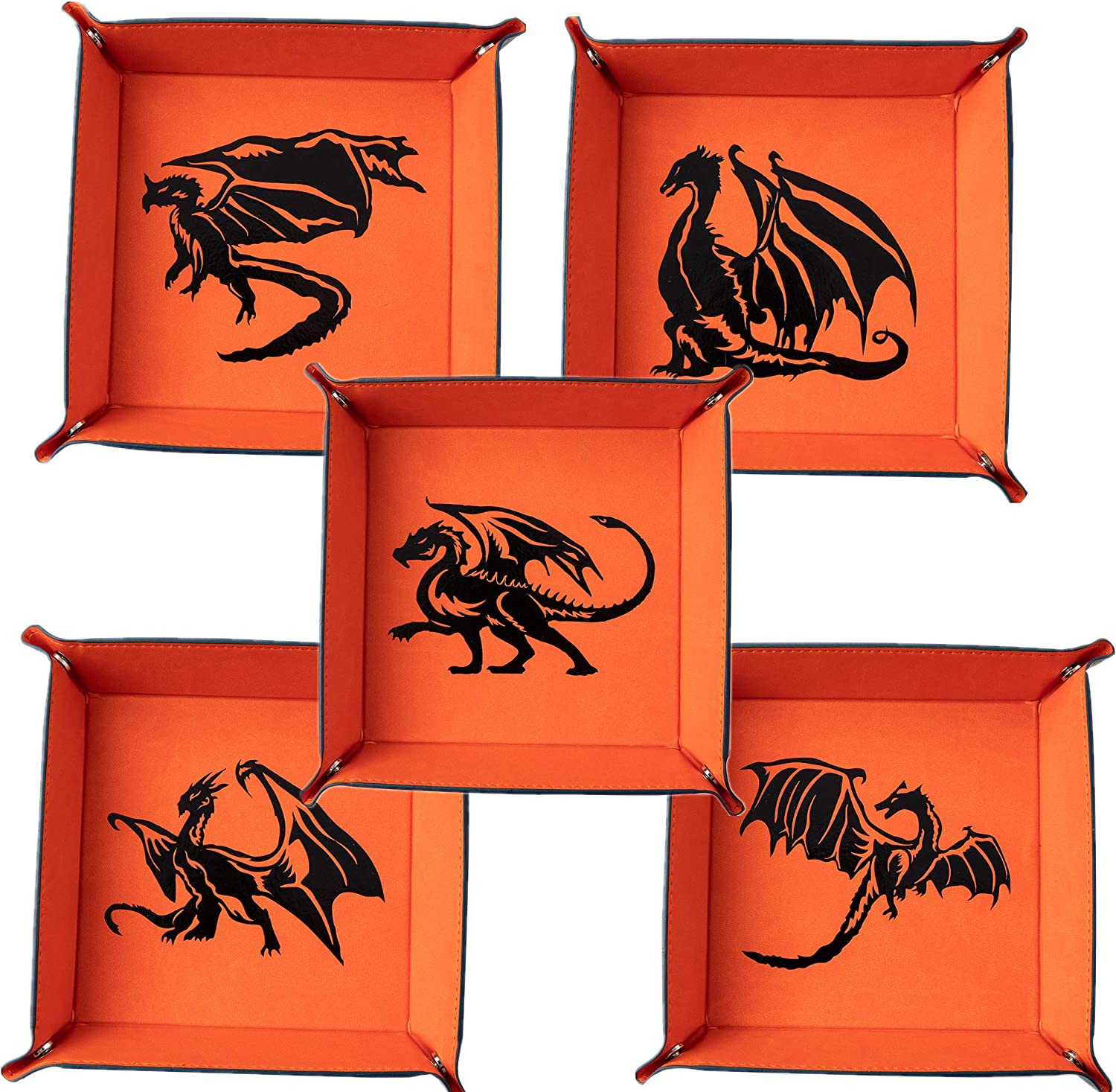 PUGED 5 Pack Dragon DND Dice Trays and Dice Bag Set Leather Folding Square Holder Portable Dice Storage Box for Rolling Dice Games RPG, D&D and Other Table Games