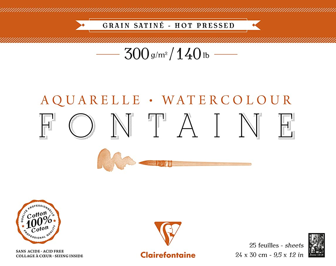 Clairefontaine Fontaine Hot Pressed Watercolour Glued Pad, Glued 1 Side, 300 g, 24 x 30 cm, 12 Sheets