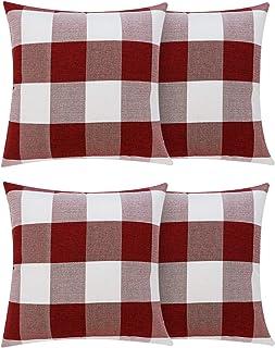 Volcanics Christmas Pillow Covers Buffalo Check Plaid Throw Pillow Covers Set of 4..