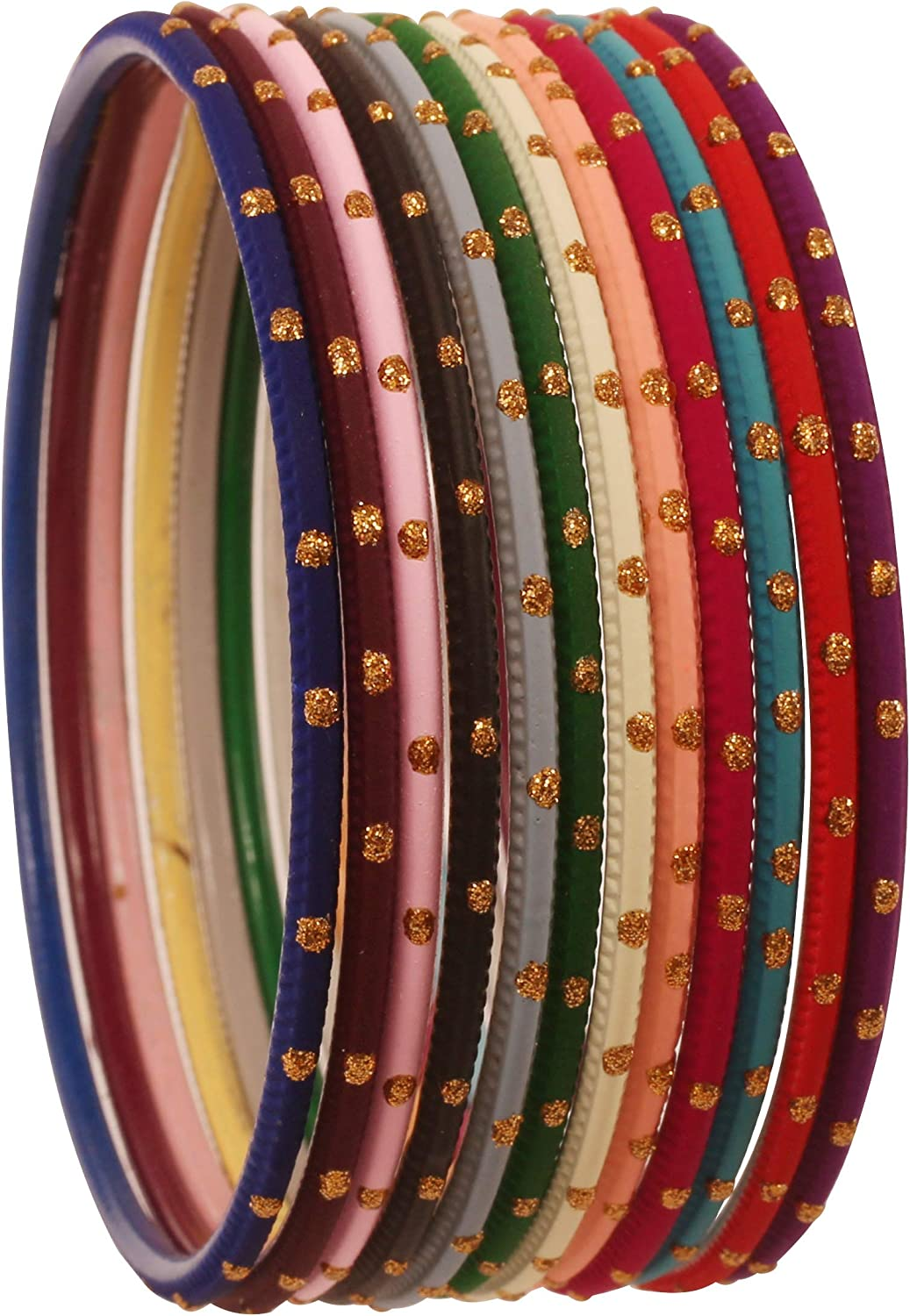 Touchstone Indian Bollywood Fashion Golden Glitters Glossy Matte Textured Vintage Colors Designer Jewelry Bangle Bracelets For Women.