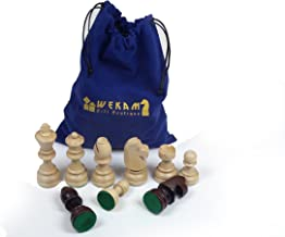 قطع شطرنج من الخشب على شكل تشيسمين Staunton Nr.7 - ثقيلة مع حقيبة قطنية