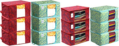 Heart Home Metalic Printed 6 Piece Non Woven Saree Cover and 6 Pieces Underbed Storage Bag, Storage Organiser, Blanket Cover, Green & Red - CTHH24336