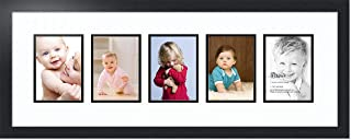 ArtToFrames Collage Photo Frame Double Mat with 5 - 5x7 Openings and Satin Black Frame