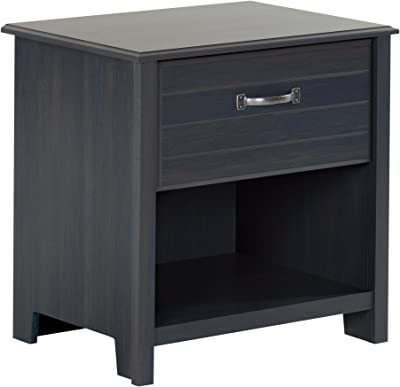 South Shore Ulysses 1-Drawer Nightstand with Open Storage, Blueberry with Metal Handle