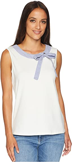 Cotton Sleeveless Stripe Woven Bow Tee
