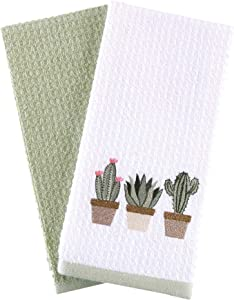 Hiera Home Kitchen Towels - Ultra Soft Cotton and Super Absorbent Dish Towels for Kitchen, Large Kitchen Towel 24x16 Inches, Natural Cotton Dish Towels Pack of 2 (Cactus)