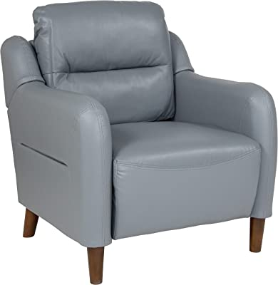 Flash Furniture Newton Hill Upholstered Bustle Back Arm Chair in Gray LeatherSoft