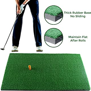 Running Raccoon Uni Turf Golf Mat with Removable Rubber Tee Holder, Grass Practice Hitting Putting Mat, Portable Turf for Indoor and Outdoor Use, Training Equipment for Backyard Garage 12 x 24 inch