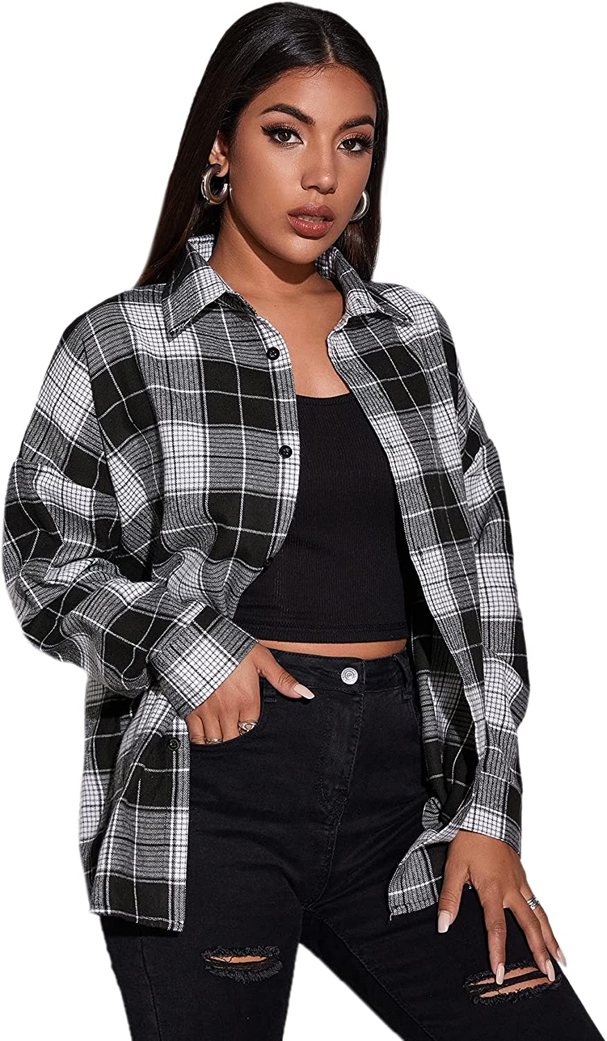 Floerns Women's Plaid Shirts Long Sleeve Curved Button Down Shirts Blouse Tops