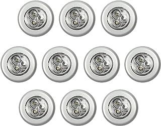 Justech 10PCs Luces 3LED Redonda de Pared Lámpara Armario Nocturna Sin Cables Luces Táctiles de Empuje Iluminación Blanca con Pegamento de Doble Cara LED Luces de Pilas para Armario Gabinete Pared