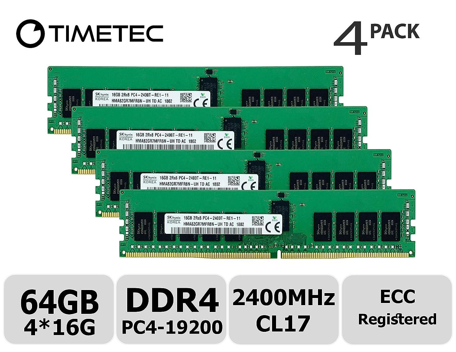 Timetec Hynix Original 64GB KIT(4x16GB) DDR4 2400MHz PC4-19200 Registered ECC 1.2V CL17 2Rx8 Dual Rank 288 Pin RDIMM Server Memory RAM Module Upgrade (64GB KIT(4x16GB))