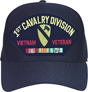 1st Cavalry Division Vietnam Veteran with Ribbons Baseball Cap. Black. Made in USA