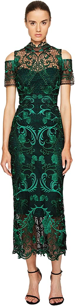 Marchesa Notte - Guipure Lace Ankle Length Cocktail w/ Cold Shoulder