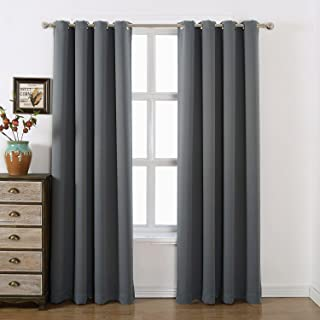 AMAZLINEN 52x84-Inch Grommet Top Blackout Curtains , Charcoal Grey (Set of 2)