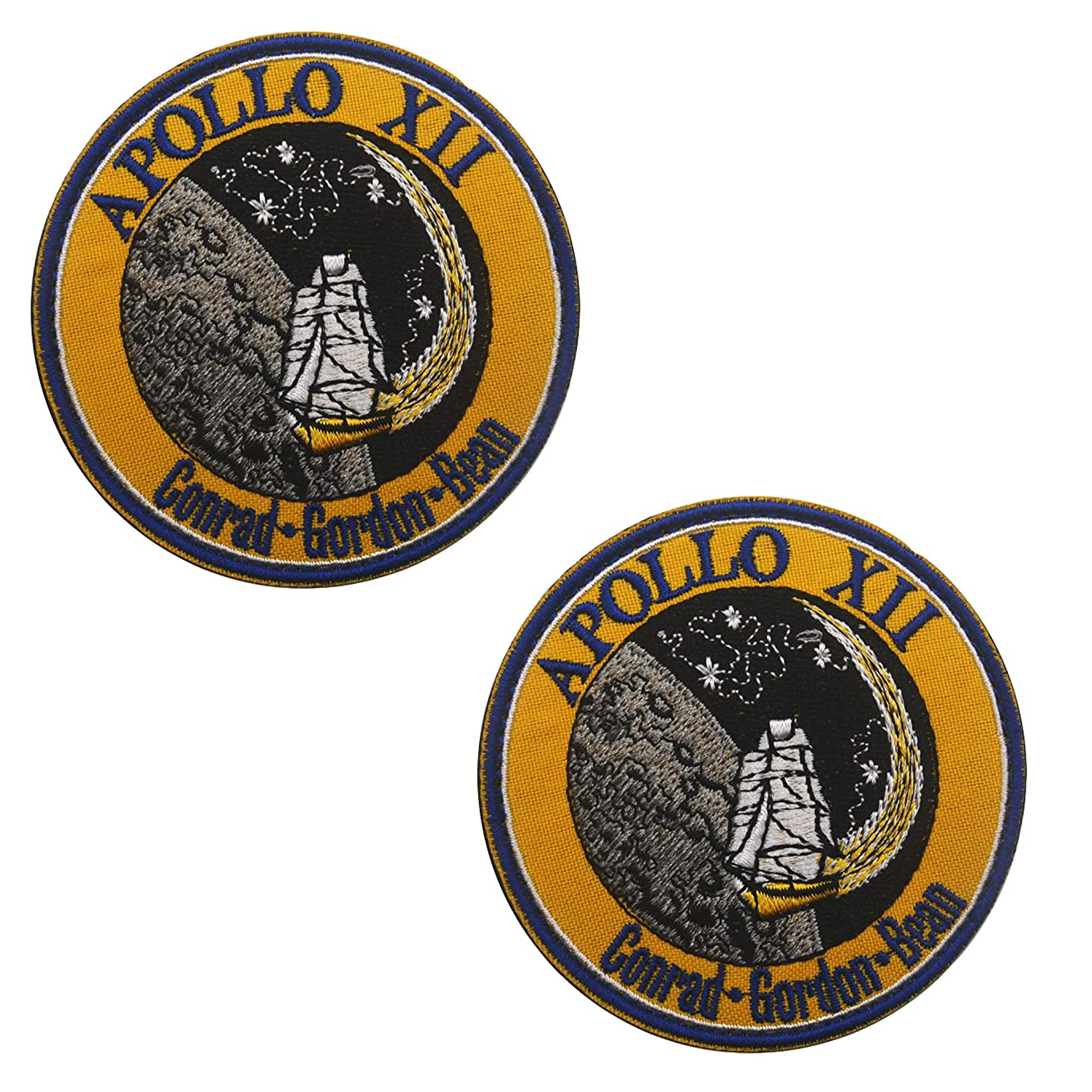 NASA Apollo XII Space Embroidered Patches DIY Embroidered Patch Costume Applique Badge Set 3.15 Inch Sized