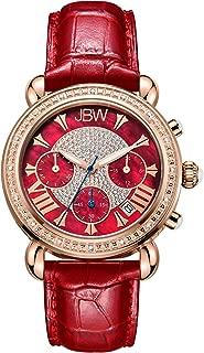 Luxury Women's Victory JB-6210L 0.16 ctw 16 Diamond Wrist Watch with Genuine Leather Bracelet, 37mm