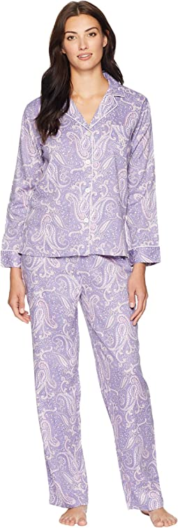 Classic Woven Long Sleeve Pointed Notch Collar Pajama Set