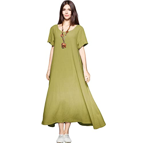 a9746ea4b6 Anysize Side Pockets Linen Cotton Soft Loose Dress Spring Summer Plus Size  Clothing F131A