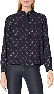 Lark & Ro Women's Long Sleeve Ruffle Placket Button-Up Blouse, Navy Tossed Floral, 16