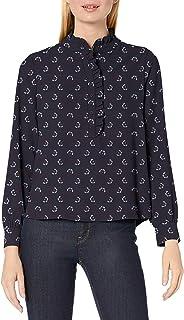 Amazon Brand - Lark & Ro Women's Long Sleeve Ruffle Placket Button-up Blouse