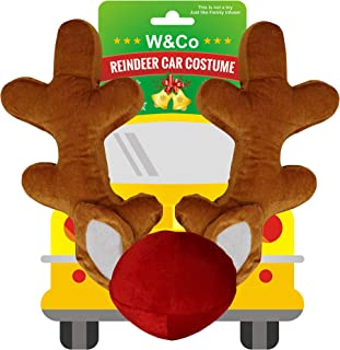 Win&Co Car Reindeer Christmas Decoration Antlers & Nose Costume Reindeer Christmas Car Character Kit Party Accessory 2019 Version