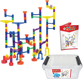 Maze of Marbles 125-Piece Marble Run Toy Set - Educational Building Block Play Track Game – STEM Construction Learning Toys for Kids 4 5 6 Years Old + 25 Glass Marble Balls with Storage Box Container