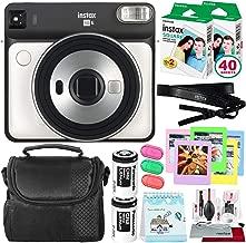 Fujifilm instax Square SQ6 Instant Film Camera (Pearl White) + 40 Sheet Square Instant Film + Case + Deluxe Bundle (USA Warrantty)