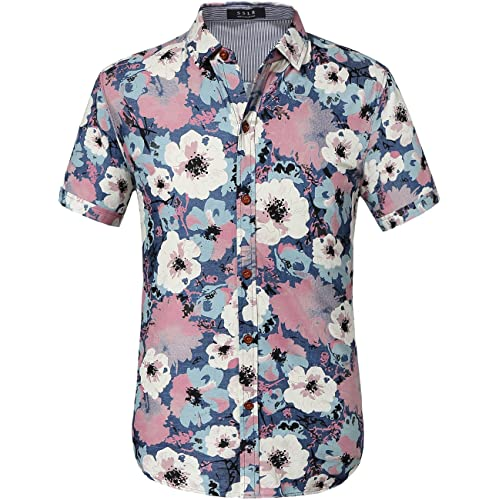 95cd92f8f3b SSLR Men s Flower Casual Button Down Short Sleeve Denim Shirt