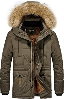Men's Winter Thicken Coat Faux Fur Lined Quilted Jacket with Removable Fur Hood