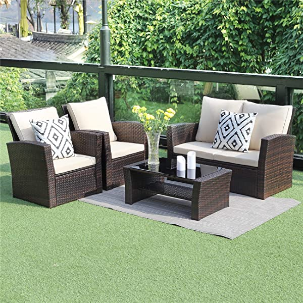 Wisteria Lane 5 Piece Outdoor Patio Furniture Sets Wicker Ratten Sectional Sofa With Seat Cushions Brown